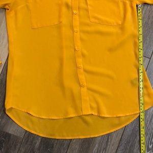 Express Tops - Express Portofino Sheer Mustard Button Down Blouse
